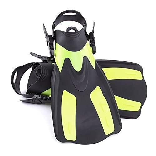 Aletas naineras Adultos Cortos Buceo de Buceo Zapatos de Snorkeling a Las Aletas de natación Foot Flipper Buckers Flexiones Aletas de Buceo con talón (Color : Yellow, Size : XL)