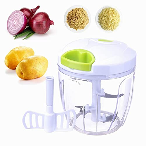 Picadora de cebolla, cortador de cebolla, 5 cuchillas para frutas y verduras, cortador manual de verduras, adecuado para verduras, frutas, carne y otros alimentos