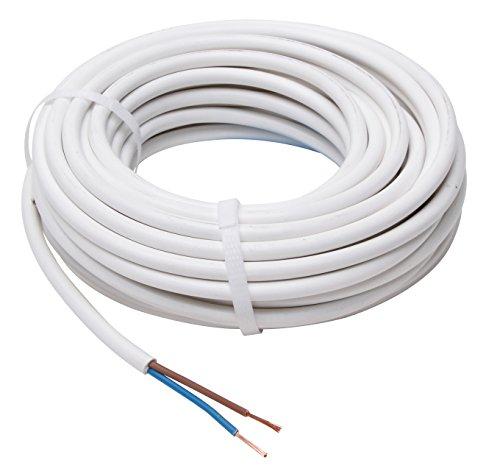 Kopp Schlauch-Leitung 2 adrig, H03 VV-F 2G0,75mm² (10m) für flexible Verlegung, 300V/500V, Strom-Kabel für Trockenraum, leichte Beanspruchung, weiß, 151510843