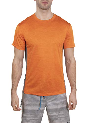 LAGUNA Mens Short Sleeve Space Dye Crewneck Loose Fit Rashguard