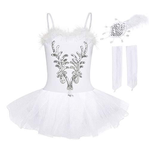 FONLAM Vestido Maillot de Ballet Tutú Niña, Blanco, 7-8 a�