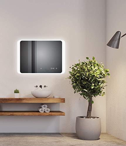 D&S Paris - Espejo de baño con iluminación LED, función antivaho, espejo para cuarto de baño con iluminación integrada, LED, blanco frío, 6500 K (70 x 50 cm con antivaho)