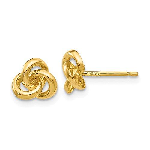 14k Yellow Gold Trinity Irish Celtic Knot Studs Earrings 7mm