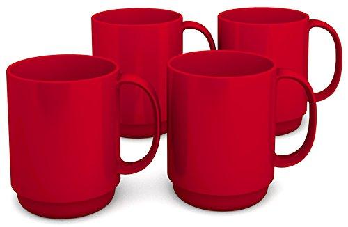Ornamin Becher mit Henkel 300 ml rot 4er-Set (Modell 510) / Mehrweg-Becher Kunststoff, Kaffeebecher