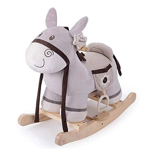 XWX Kinderholzpferd Rocking Horse Music Massivholz Schaukelpferd Dual-Use Baby Toy Geburtstagsgeschenk