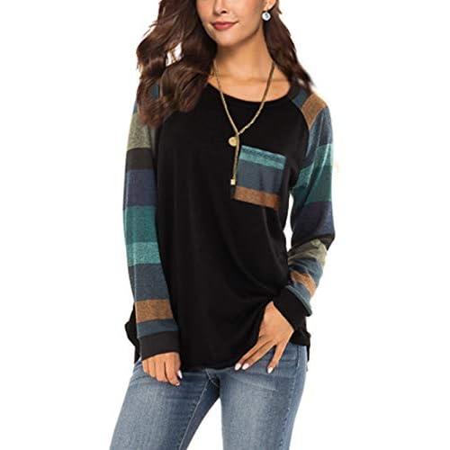 iChunhua Womens Casual Color Block Raglan Long Sleeve T-Shirt Blouses Tunic Tops