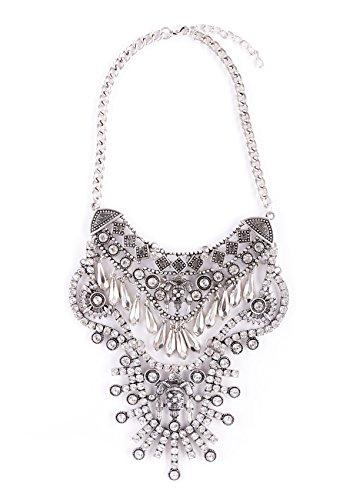 Happiness Boutique Damen Glamouröse Statement Kette | Auffällige Kette in Silberfarbe