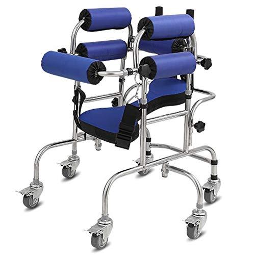 ZAQI Rollator Gehhilfen Walker für Behinderte Erwachsene/Kinder mit Zerebralparese, Aufrecht Stehender Schrittassistent für Senioren mit Edelstahlrahmen, Griffen, Sitz, Last 120 Kg