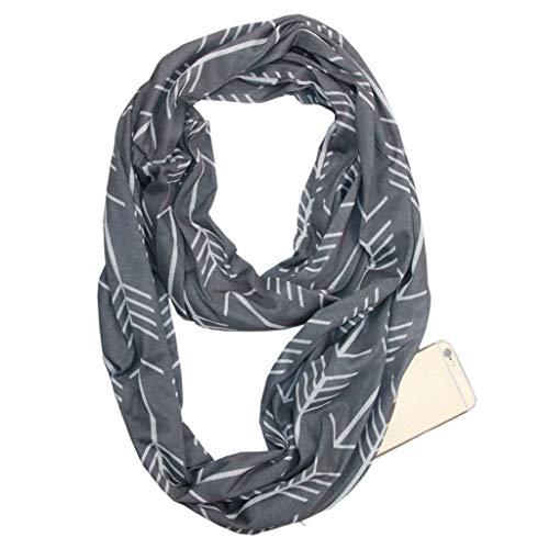 VIccoo Vrouwen Sjaal, Vrouwen 180x50cm 8 Kleuren Convertible Infinity Loop Sjaal Geometrische Pijl Luipaard Print Ring Deken Wrap Sjaal Met Verborgen Rits Pocket - Diep Grijs