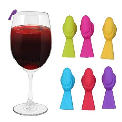 6pcs Wein Charme Hummingbird Glas Marker Ungewöhnliches Weinglas Identifiers Multicolor