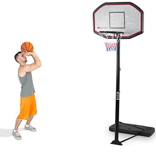 COSTWAY Basketballständer aus Stahl, Basketballkorb mit Ständer, Basketballanlage rollbar, Korbanlage höhenverstellbar von 200 bis 305cm, geeignet für Kinder und Erwachsene