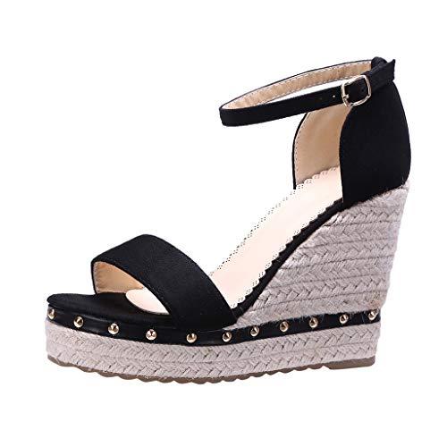 COZOCO Damenmode Open Toe Schuhe Wedges Thick Bottom Straps Schnalle Schuhe Römersandalen(schwarz,35 EU)