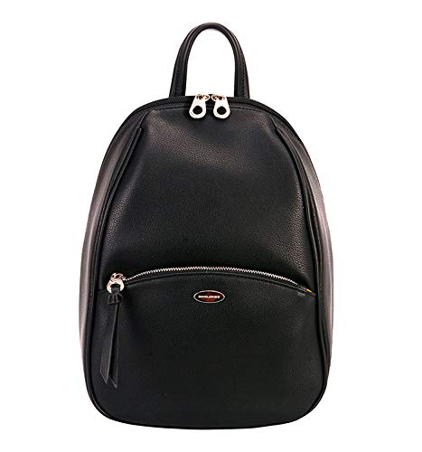 boquita de piñon bolso mochila mujer antirrobo casual negro baratos barata elegante pequeña marron original polipiel seguro (negro)