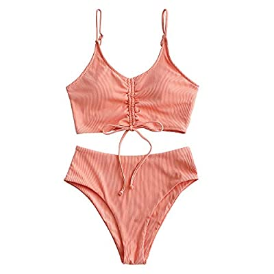 ZAFUL Women's Ribbed Cinched Tie Front Cami High Waisted Tankini Swimsuit (A-Light Salmon, M)