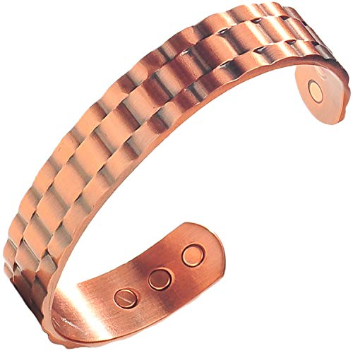 Mens Pure Copper Magnetic Healing Bracelet for Injury Recovery, Arthritis, and Joint Pain Relief - Adjustable Heavyweight Cuff Style - Earth Therapy