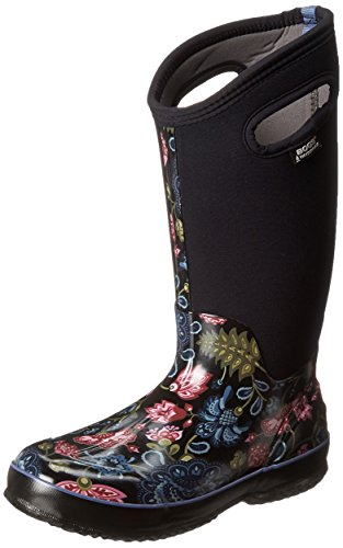 Bogs Women's Classic Tall Winter Blooms Waterproof Insulated Boot, Black Multi, 8 M US