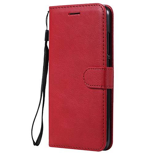 Jeewi Hülle für [Xiaomi Mi 8 Lite] Hülle Handyhülle [Standfunktion] [Kartenfach] [Magnetverschluss] Tasche Etui Schutzhülle lederhülle flip case für Xiaomi Mi8 Lite - JEKT051811 Rot