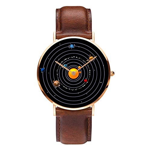 Planet Watch Unisex Astronomy Planetary Celestial Planetarium Watch (40mm - Rose Gold with Brown Leather Strap)