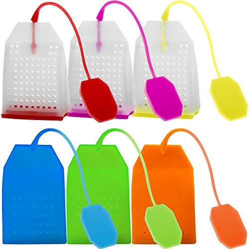 FineGood - 6 infusores de té de silicona, reutilizables, seguros, hojas sueltas, filtro de filtro con cuerda larga, 6 colores