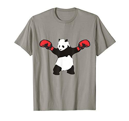 Panda Red Gloves Boxing Shirt Black White Boxer Sport Funny