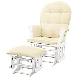 Gliding Rocking Chair with Ottoman Wooden Glider with Padded Cushions Nursery Solid Wood Modern Indoor Recliner Comfy Contemporary Comfortable Padded Arms Storage Pockets & eBook by NAKSHOP