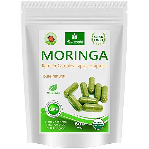 Moringa Kapseln 600mg oder Moringa Energy Tabs 950mg – Oleifera, vegan, Qualitätsprodukt von MoriVeda (120 Caps)