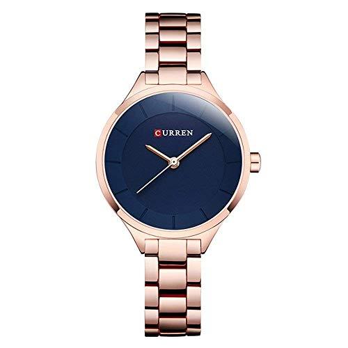 Curren 9015 - Reloj de pulsera de cuarzo para mujer y niña, impermeable, acero inoxidable
