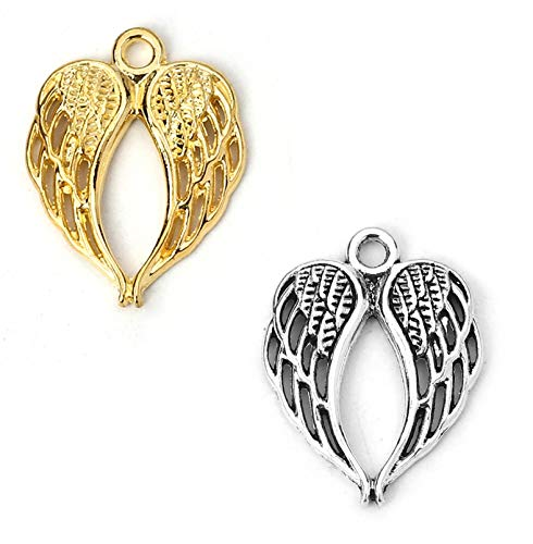 JGFinds Angel Wings Pendant Charm - 100 Pack of 50 Silver and 50 Gold Toned DIY Jewelry Making Supplies