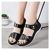 YZZ Mujeres Mujeres Mujeres Madre Genuina PU Zapatos Sandalias Apartamentos Suave Gancho Lazo Coreano Verano Playa tamaño 35-40 (Color : Black Soft Leather, Size : 36)