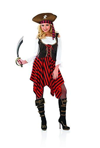 Fun Shack Rotes Piraten Kostüm für Damen, Piratenbraut Verkleidung - XL