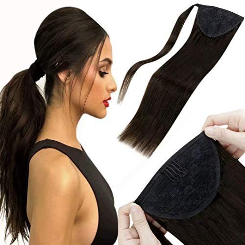 LaaVoo Postiches Queue De Cheval Naturel Humain, 40 cm 80g Marron Le Plus Foncé Queue de Cheval Postiche Extension de Cheveux Lisse, Wrap Around Human Hair Ponytail Attached with Velcro 16Pouce