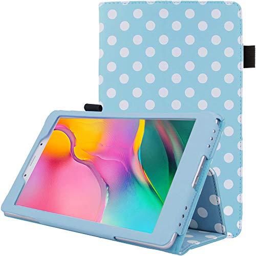TECHGEAR Funda de Cuero Diseñado para Nuevo Samsung Galaxy Tab A 8.0  2019 (SM-T290   SM-T295), Funda de Cuero PU Protectora Soporte y Correa de Mano [Lunares Azul]