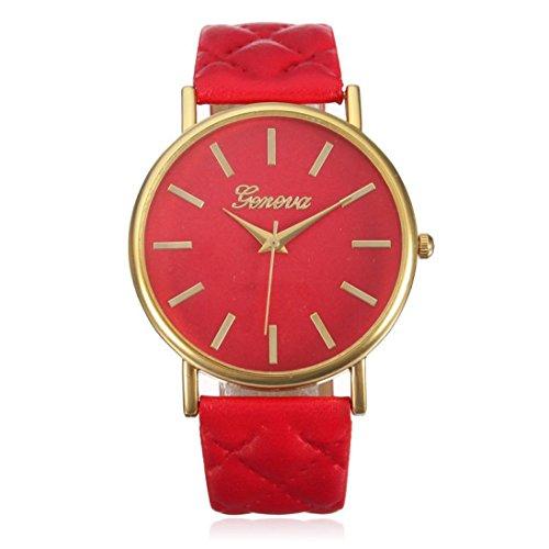 Franterd® Damen-Armbanduhr Elegant Uhr Modisch Zeitloses Design Klassisch Leder Römische Ziffern-Leder-analoge Quarzuhr Armbanduhr Rot