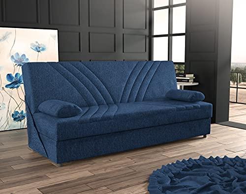 Dmora Divano Letto a 3 posti con Contenitore, con 2 Cuscini Inclusi, 181 x 81 x 88h cm,Color Blue Jeans