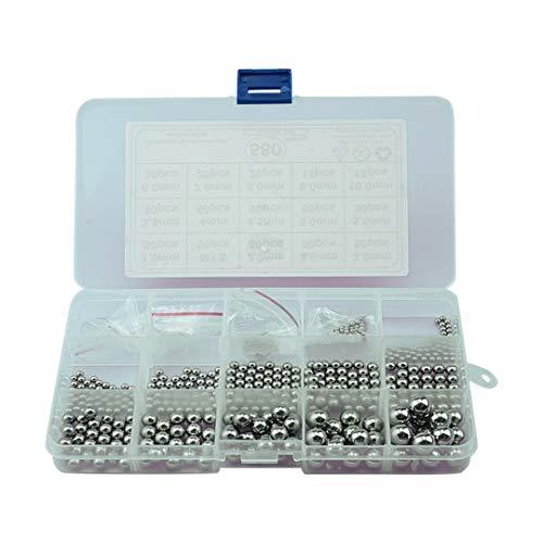 ANSIEDIO Bolas para rodamientos, 1-10mm, 580 piezas, Bolas de limpieza de acero inoxidable para garrafa botellas