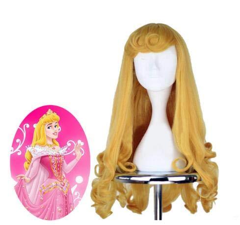 Anime Bella Durmiente Princesa Aurora Peluca Briar Rose Mujeres Largo Amarillo Pelo Cosplay Disfraz Fiesta de Halloween Pelucas + Peluca Cap Bella Durmiente como la imagen