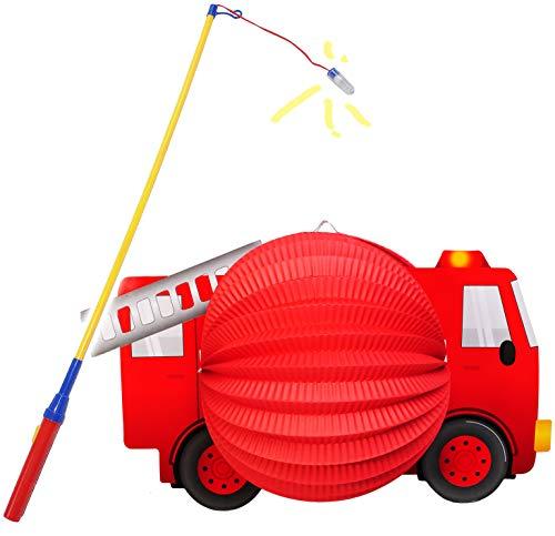 alles-meine.de GmbH 2 TLG. Set: Laterne / Lampion + LED Laternenstab -  Feuerwehr Auto - Fahrzeug  - für Kinder - Papierlaterne aus Papier - Lampe - Laternen Lampions - Figur -..