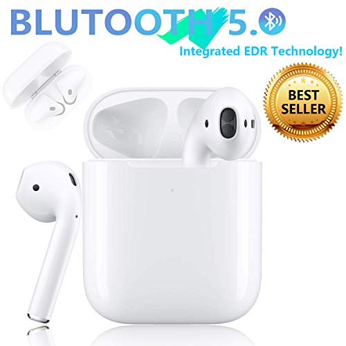 Bluetooth 5.0 Headset Earbuds Headphones Built-in Microphone and Charging Box,3D high-Definition Stereo Noise Reduction,Suitable for Airpods Android/iPhone/Samsung