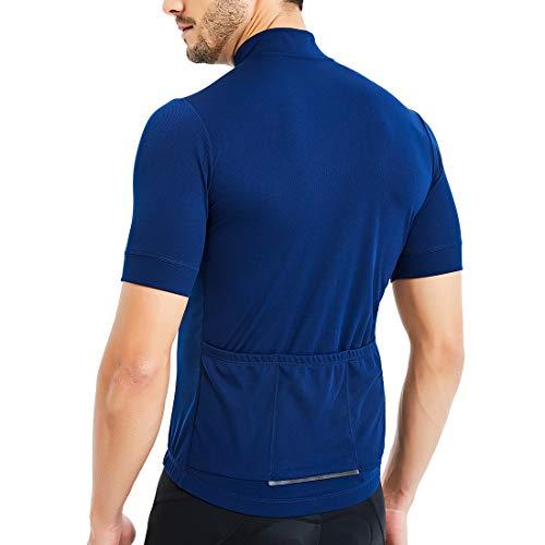 CATENA Men's Cycling Jersey Long Sleeve Shirt Running Top Moisture Wicking Workout Sports T-Shirt (D-Blue-Short, M)