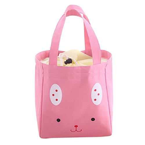 Verlike isotherme déjeuner Sac de rangement en toile Sac à main de voyage pique-nique Carry Tote 20cm x 13cm x 19cm rose