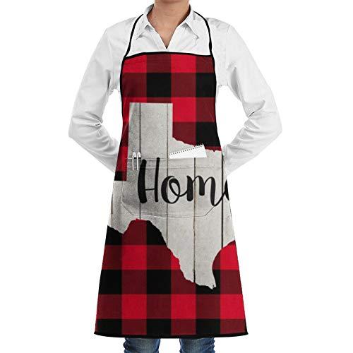 Delantal de chef Texas, de madera blanca, de búfalo rojo y negro, para mujer, para hombre, delantal de cocina, delantal de barbacoa, delantal ajustable con bolsillos