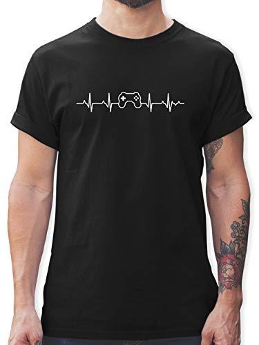 Nerds & Geeks - Herzschlag Gaming Controller - XL - Schwarz - Herzschlag Gaming Controller Shirt - L190 - Tshirt Herren und Männer T-Shirts