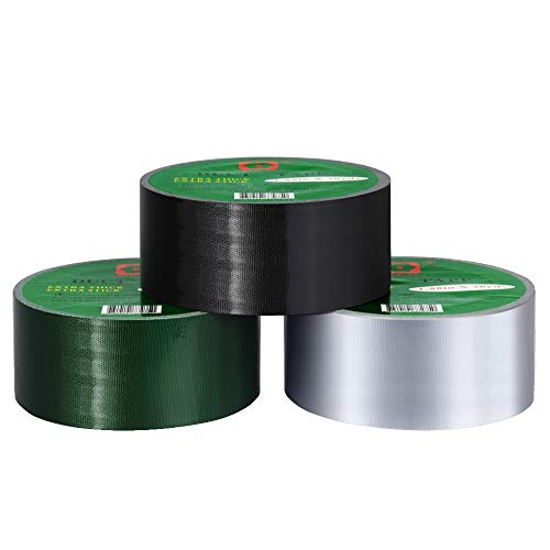Duct Tape Multi Pack Color Duct Tape Strong Tape 9.9mil Extra Thickness,1.88 in x 20 Yds, Pack of 3, Silver,Black,Green