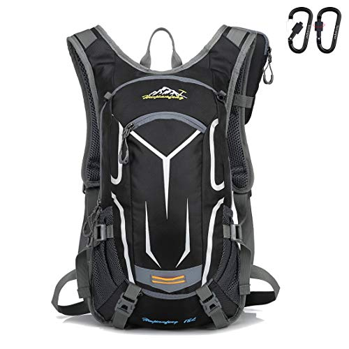 Yovanpur Cycling Rucksack, 18L Waterproof Bike Backpack Breathable and Lightweight Running Backpack for Fitness Running Hiking Climbing Camping Skiing Biking Trekking (Black)