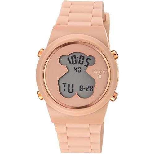 Reloj tous digital D-Bear de acero IP rosado con correa de Silicona nude Ref:700350315