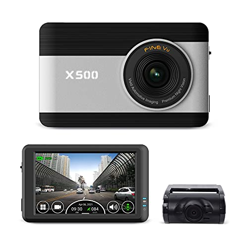 """FINEDIGITAL FineVu X500 Dash Cam, Front and Rear Full HD 1080P, 3.5"""" Touch Screen IPS, Hardwiring Cable, 64GB MicroSD Included, Night Vision, ADAS, Time Lapse, G-Sensor"""