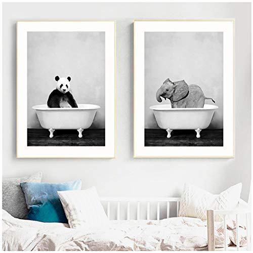 HSFFBHFBH Wandkunst Malerei Leinwanddruck Wohnkultur Panda Elefant Tierbaby in Badewanne Bild Nordischen Stil Poster Für Kinderzimmer 60x80 cm (23,6