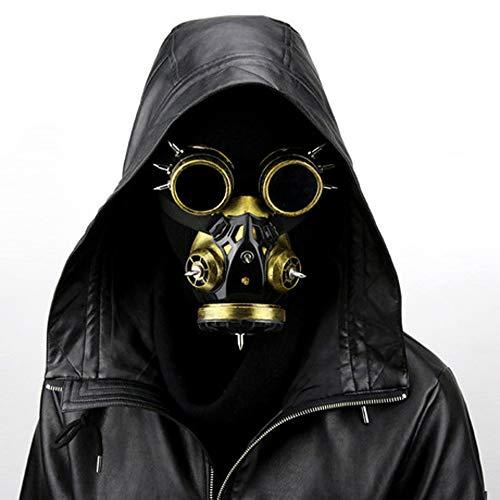 WRISCG Steampunk Gas Goggles Retro Gothic Punk Zombie Soldiers Skull Mask para Halloween Cosplay Props Halloween Gas Maske, Steampunk Gasmaskenbrille Spikes Skeleton Warrior Maskerade,Oro