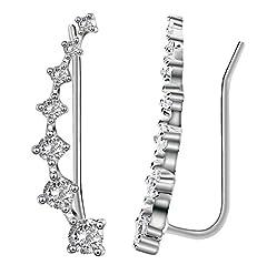 Elensan 7 Crystals Ear Cuffs Hoop Climber S925 Sterling Silver Earrings Hypoallergenic Earring #1