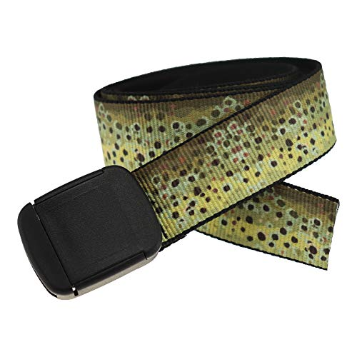 Fish Pattern Metal Free Hiker Web Belts Made in USA by Thomas Bates (Brown Trout Texture)
